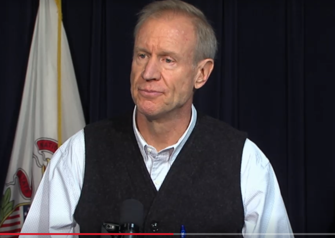 Gov. Bruce Rauner addressing reporters' questions on the recent sexual harassment scandal at the Statehouse