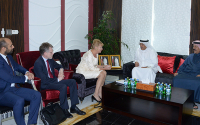 Swedish Ambassador to Qatar Eva Polana discusss trade with Qatar Chamber member del Abdulrahman al-Mannai.