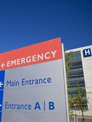 Large hospital emergency sign