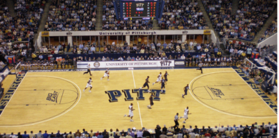 The floor of the Peterson Events Center on the campus of the University of Pittsburgh is shown.
