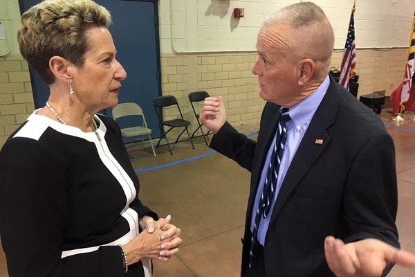 Maryland Center for School Safety Executive Director Ed Clarke, right, with State Superintendent of Schools Dr. Karen Salmon chatting during a recent gathering.