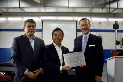 Pictured (L to R): John Hay, Customer Experience/Loyalty Manager, Mazda Northeast Region; Ryuichi Umeshita, Mazda Executive Officer of Brand Engagement, Global Marketing, Sales & Customer Service; Scott Shaw, President & CEO Lincoln Tech.