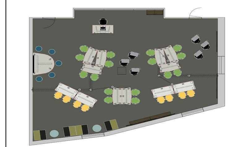 A rendering of the renovated McConnell Library Information Literacy Center B