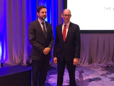 Assistant Reporter Kyle Logue (left) and Reporter Tom Baker (right) celebrated the approval of their Restatement of the Law of Liability Insurance, at the American Law Institute's 2018 annual meeting. Photo by Nicholas Malfitano.