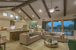Soaring ceilings and oversized windows create an open atmosphere.