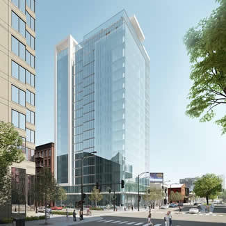 Rendering of 18-story hotel and restaurant project proposed for LaSalle and Hubbard in River North.