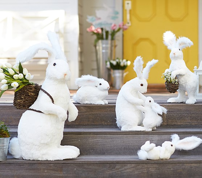 White sisal bunny decor