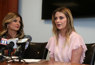 Attorney Lisa Bloom and actress Mischa Barton at the recent news conference announcing her plans to take action against Zacharias