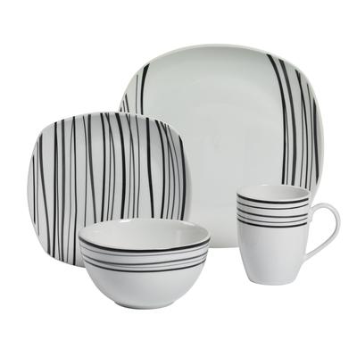 Justin 16-inch Soft Square Porcelain Dinnerware Set