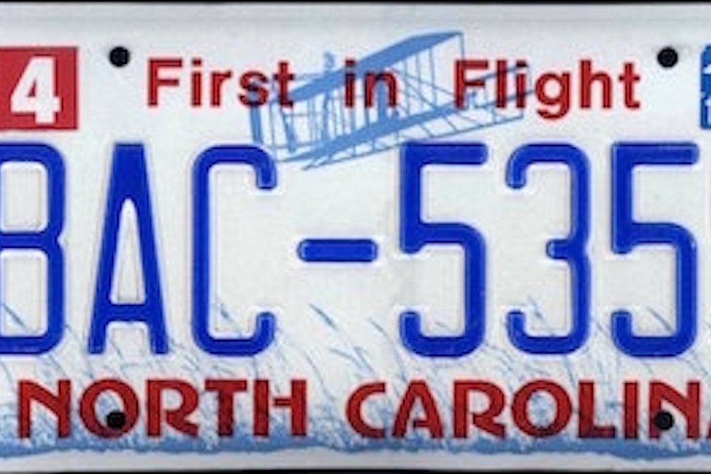 2013 north carolina license plate   bac 5359