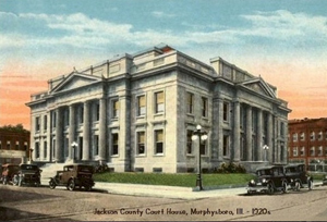 A painting of the Jackson County Courthouse in Murphysboro, Ill. It was one of 12 sites in the state to be added to the National Register of Historic Places this past year.