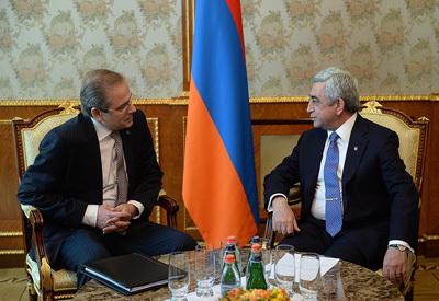 EDB Chairman, Dmitry Pankin meets with Armenian President Serzh Sargsyan.