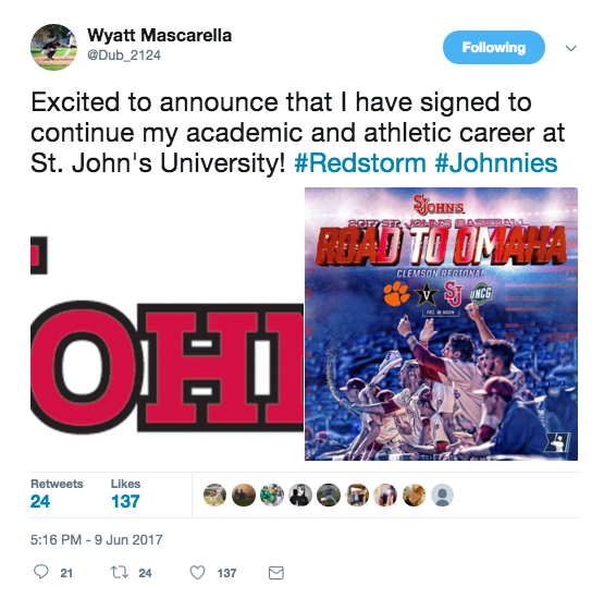 Wyatt Mascarella announced a move to St. Johns University on his Twitter feed