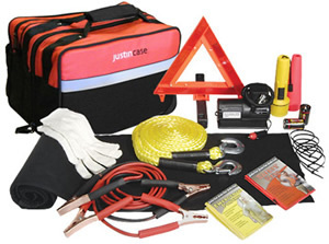 Add jumper cables, foam tire sealant, tow strap and tire gauge as part of your emergency tools.
