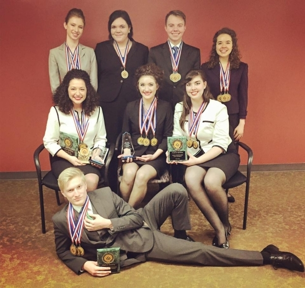 The SIC Forensics team: Cassidy Maynard, Gabe Motsinger, Carrier Mills, Kaydee Dycus, Chanse Tullis, Carrice McDaniel, Shannon Welker, Shay Wood, Joli Murphy beat out Northern Illinois schools at a speech tournament