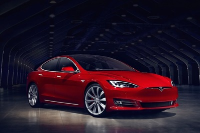 The Tesla is a striking vehicle.