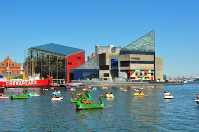 Baltimore's Inner Harbor, with a view of the National Aquarium.