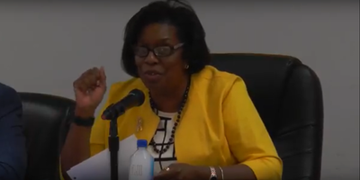 Former University Park Mayor Vivian Covington at a University Park Village Board meeting July 10, 2018