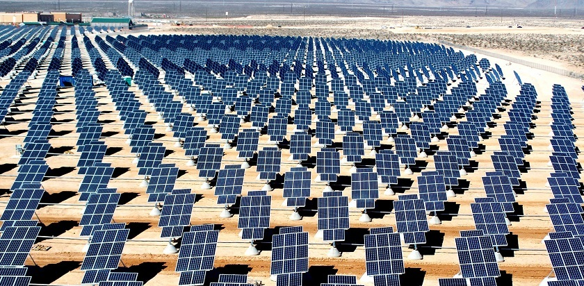 Nellis Solar Power Plant located within Nellis Air Force Base, northeast of Las Vegas, Nevada, United States. The power plant occupies 140 acres, contains about 70,000 solar panels and generates 14 megawatts of solar power for the base.