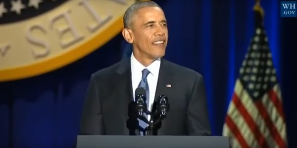 Now-former President Barack Obama during his farewell address in Chicago