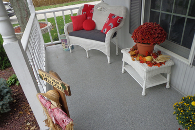 Concrete chip flooring creates a unique and attractive outdoor surface for patios and garages.