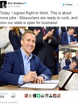 Missouri's Republican Gov. Eric Greitens' Twitter post shortly after signing Right-to-Work legislation into law