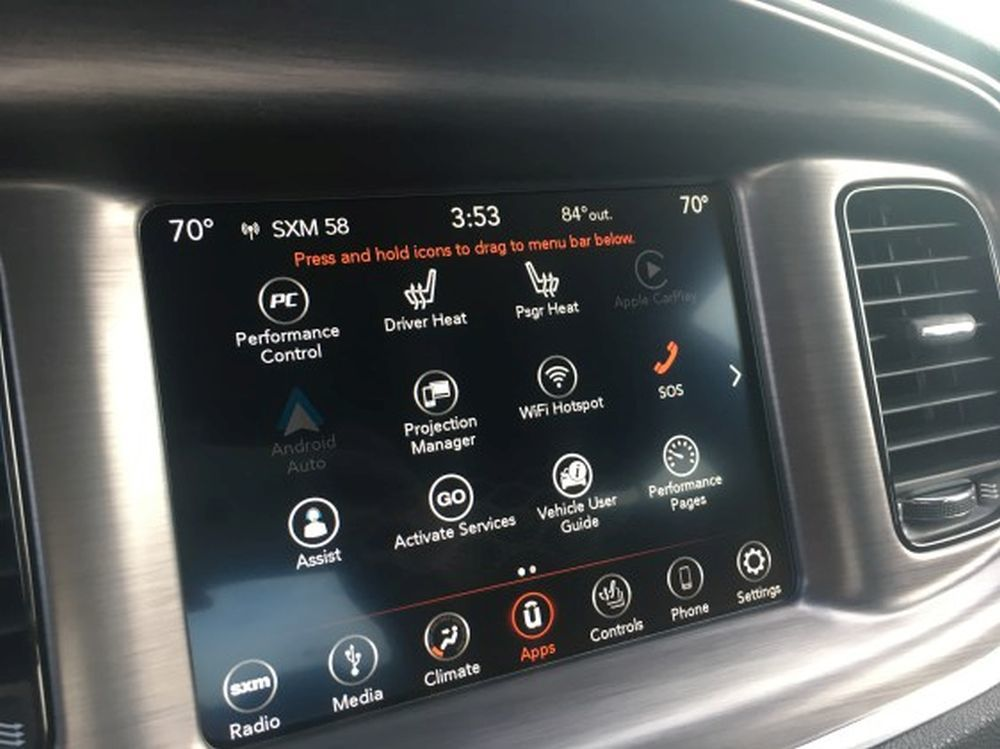 The standard favorite apps are items such as radio, media, controls, climate and navigation.