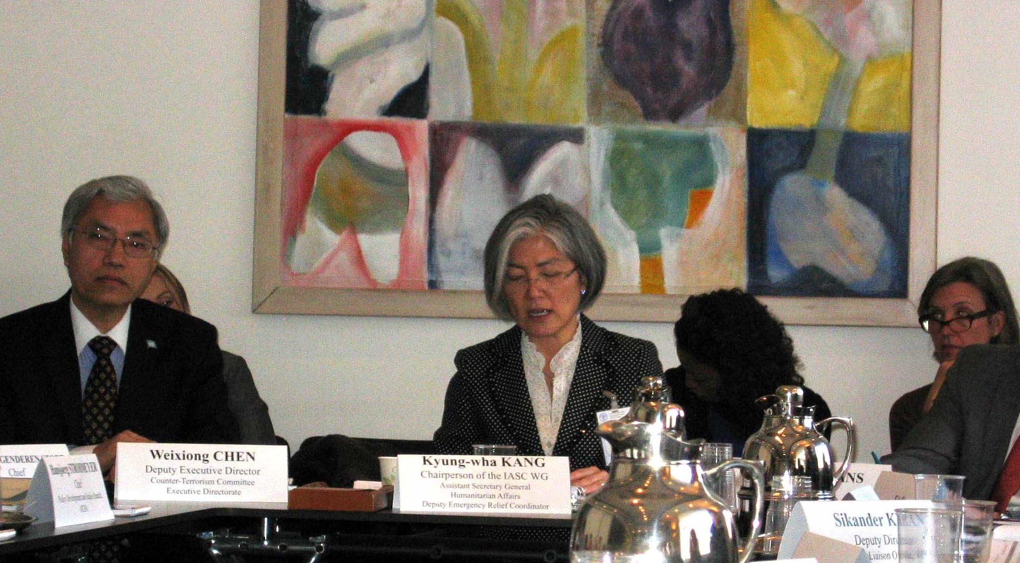 Weixiong Chen, Deputy Executive Director of CTED and Kyung-wha Kang, Chair of the IASC WG in the meeting that took place in Rome ealrier this month.