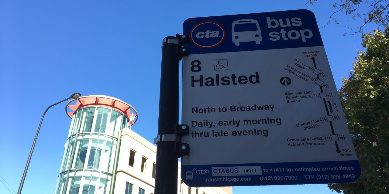 8 halsted bus stop sign