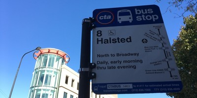 Medium 8 halsted bus stop sign
