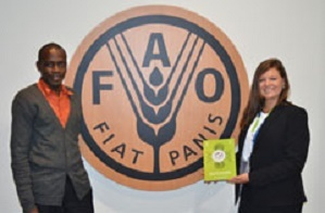 Laura Grubb and Samba Ouma Zablon taking the Canberra Youth Ag-Declaration to the conference of the United Nations Committee on World Food Security (UN CFS) at the FAO in Rome.