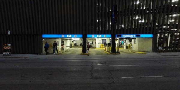 Large downtown chicago parking garage