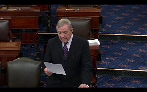 U.S. Sen. Dick Durbin (D-IL) delivers a speech on gun violence on the Senate floor last week.
