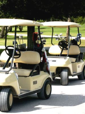 Golf carts plain white