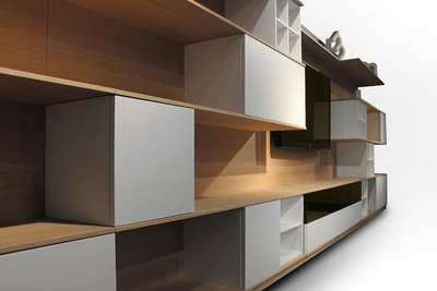 Modular shelving does not have to be arranged in a traditional, balanced way.