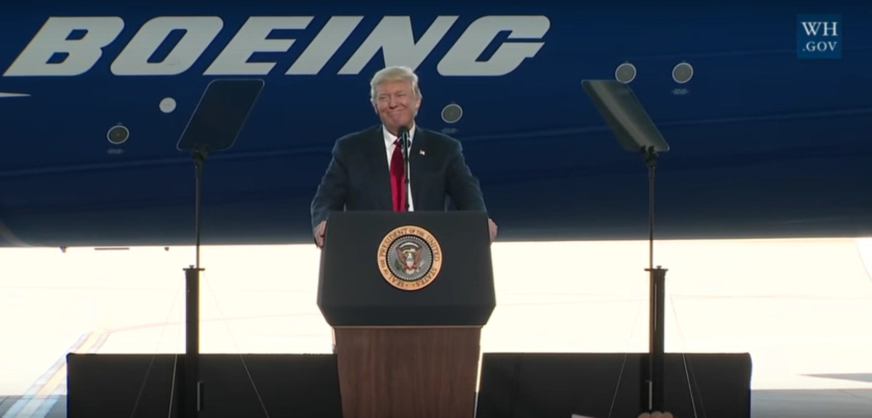 President Donald J. Trump addresses attendees at the unveiling of The Boeing Company's 787-10 aircraft at the company's North Charleston, SC facility on 2/17/17