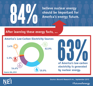 The NEI states that 84 percent of informed surveyors support nuclear energy.