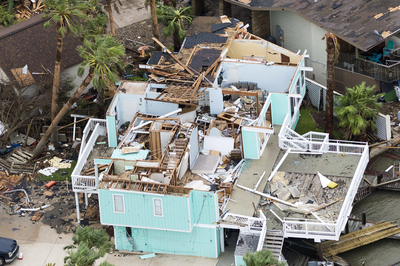 Many homes, such as this one in Rockport, suffered severe damage from Hurricane Harvey.