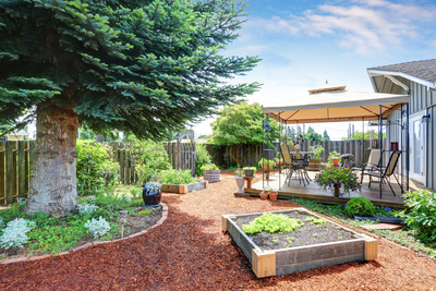 Raised garden beds help provide aesthetic variety.