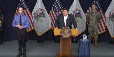 Illinois Gov. JB Pritzker delivers remarks during his daily COVID press briefing on April 1, 2020.