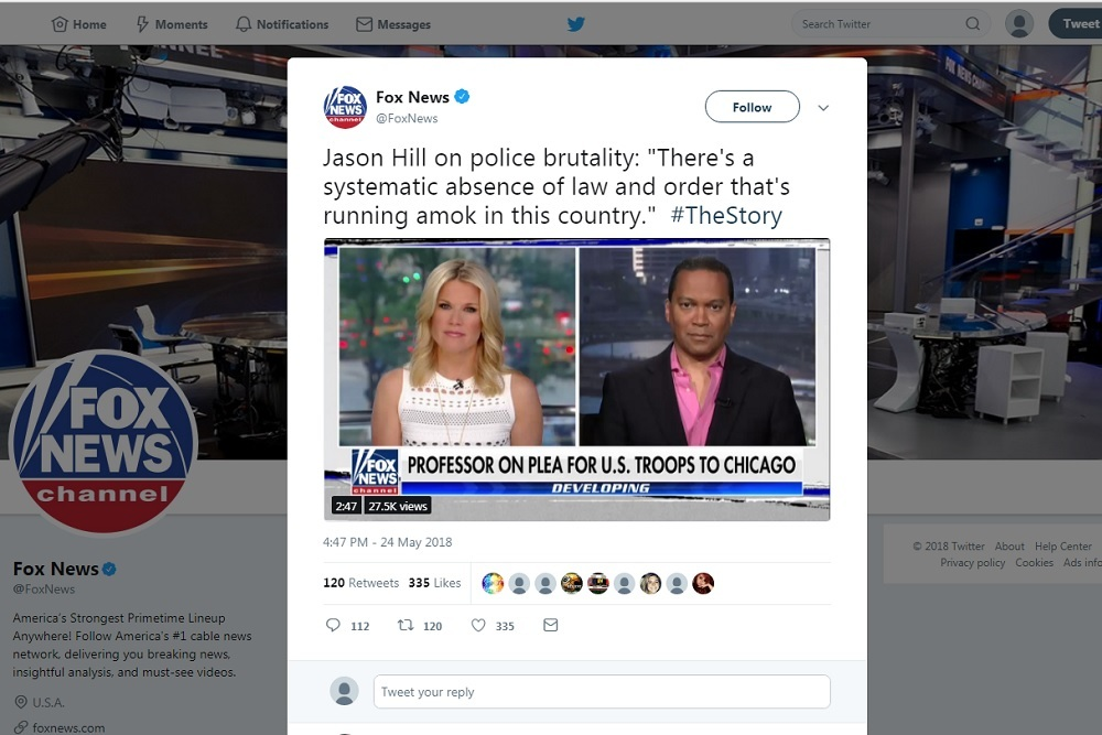 Jason Hill's comment, posted on Fox News' Twitter account