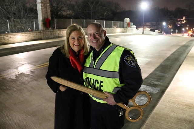 Hinsdale Police Chief Brad Bloom and State Rep. Patti Bellock (R-Dist. 47) attend a ribbon-cutting event for the new Oak Street Bridge in Hinsdale.