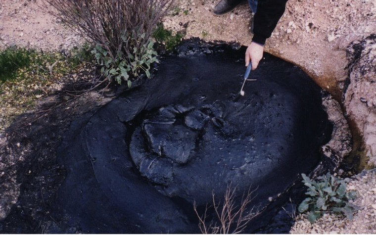 Bitumen is a viscous black mixture of hydrocarbons.