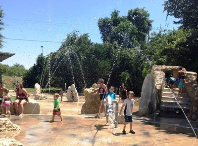 Quarry Splash Pad draws young and old to Williamson County Regional Park to cool off on hot days in a former quarry outfitted with fountains, sprinklers, climbing and more.