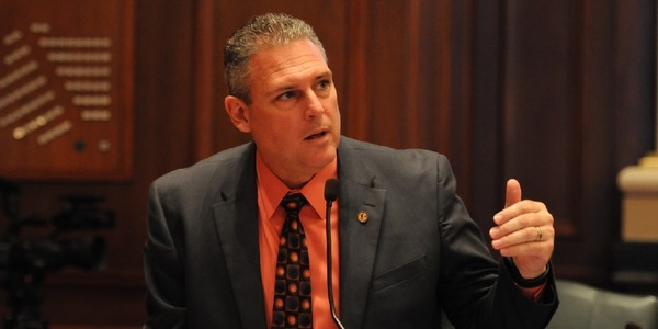 newly named House Republican Conference Chairman State Rep. Keith Wheeler (R-Oswego) speaking on the floor of the House