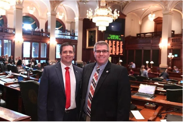 Pastor Corey Musgrave (left) with Illinois state Rep. Darren Bailey (R-Xenia)