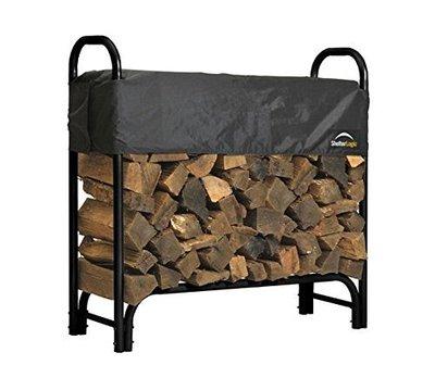 ShelterLogic 90403 Heavy Duty Firewood Rack with Cover, Black, 12-Feet