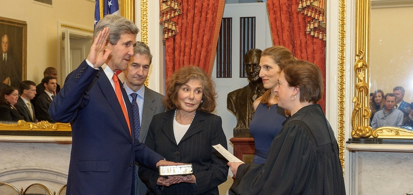 Dr. Vanessa Kerry, second from right, watches her father being sworn in as secretary of state in 2013.