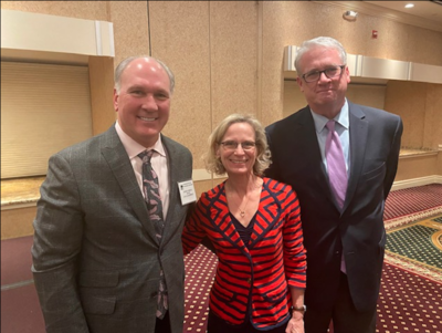 Illinois House candidate Laura Hois (R-Downers Grove) with Naperville Mayor Steve Chirico (left) and House Republican Leader Jim Durkin