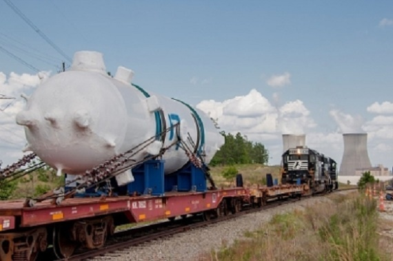 This 225,000-pound pressurizer, fabricated in Italy, was delivered to the Vogtle nuclear expansion in May.